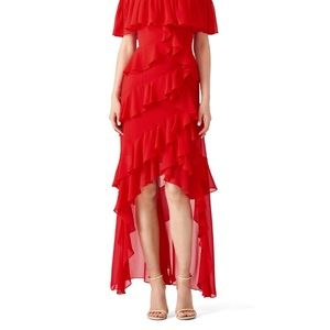 Badgley Mishka red off shoulder ruffle gown